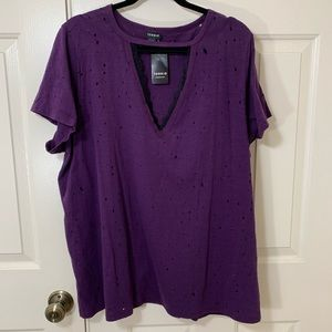 NWT DISTRESSED TORRID PURPLE T BLACK LACE